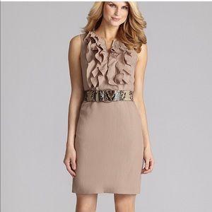 Antonio Melani tan linen dress with ruffles